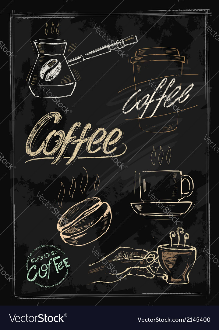 Chalk coffee vector