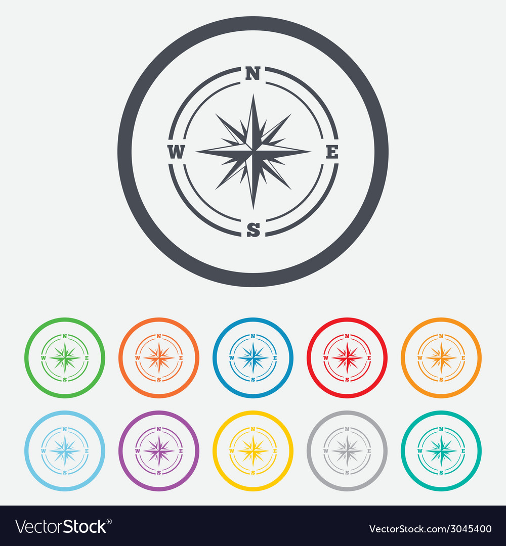 Compass sign icon windrose navigation symbol vector | Price: 1 Credit (USD $1)