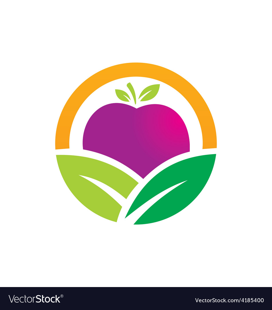 Eco vegetarian fruit logo vector | Price: 1 Credit (USD $1)