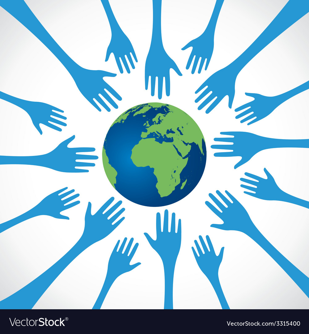 Every hand save the earth vector | Price: 1 Credit (USD $1)