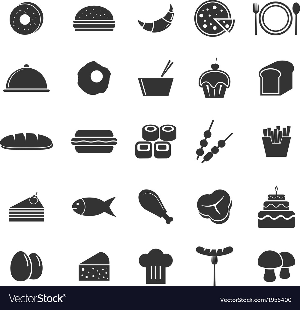 Food icons on white background vector | Price: 1 Credit (USD $1)
