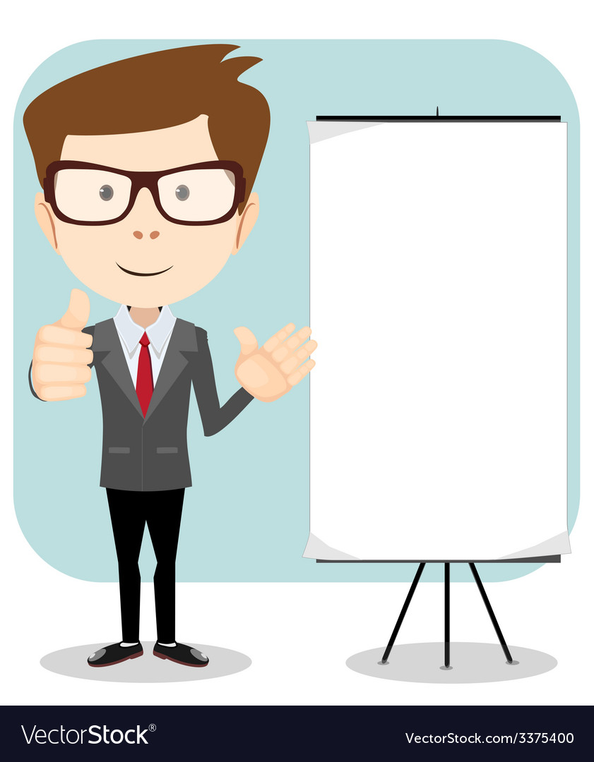 Friendly businessman pointing to blank billboard vector | Price: 1 Credit (USD $1)