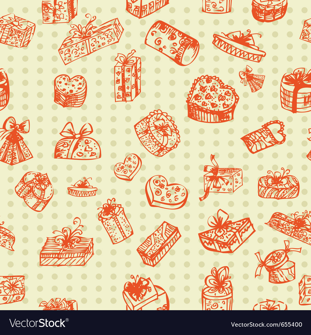 Gifts drawing seamless hand vector | Price: 1 Credit (USD $1)