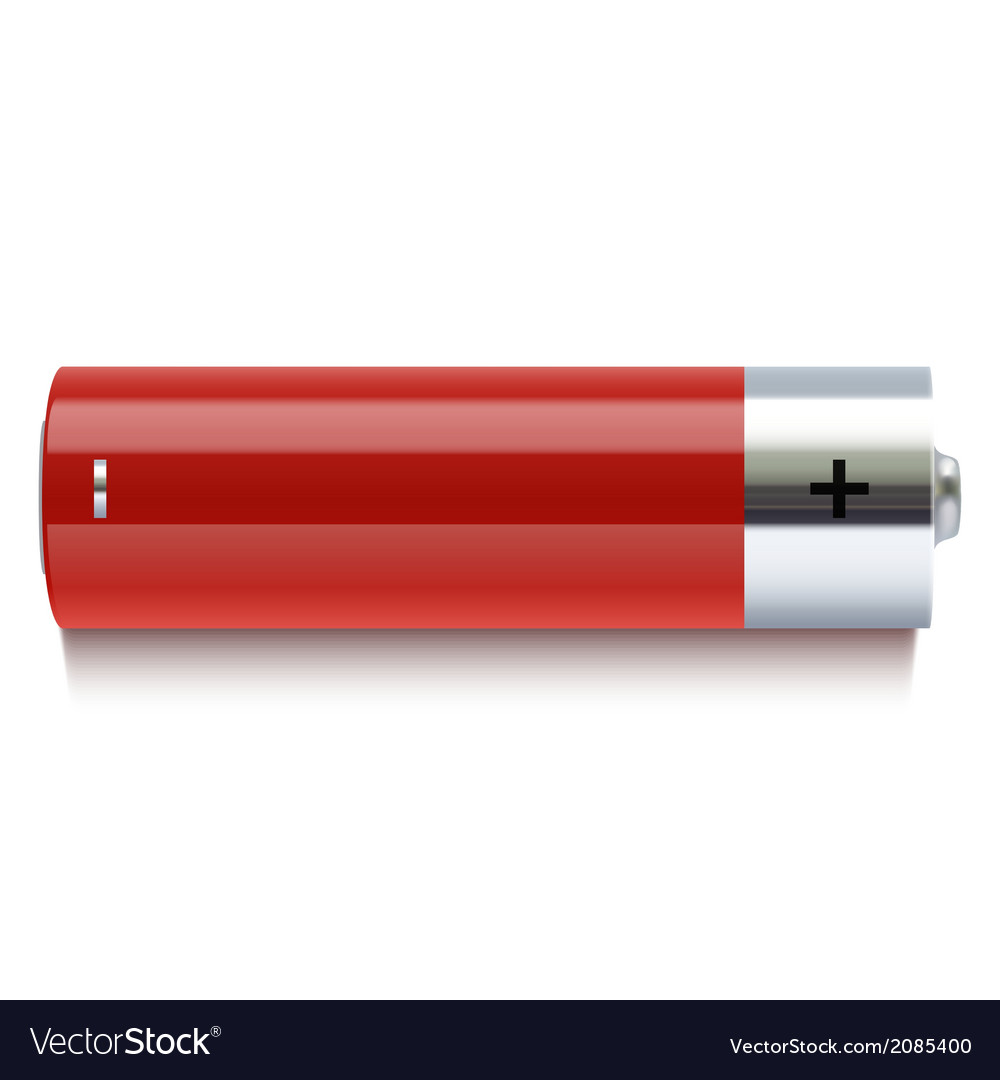 Realistic red battery icon vector | Price: 1 Credit (USD $1)