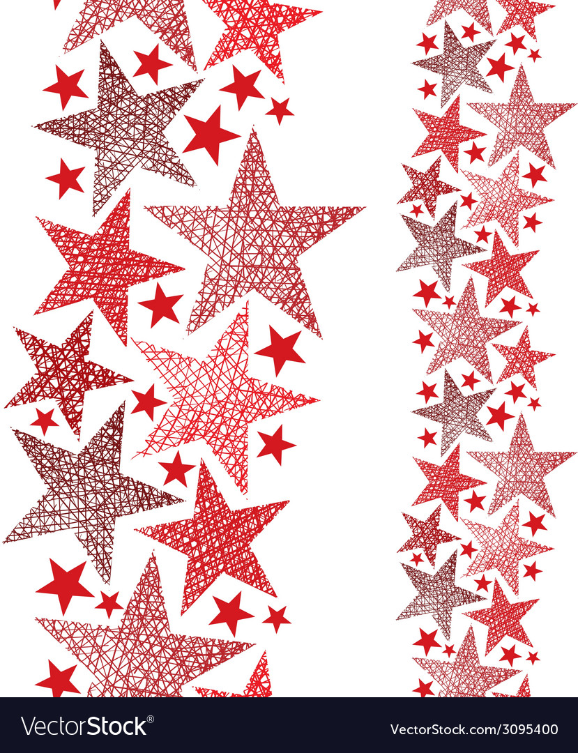 Red stars seamless pattern vertical composition vector | Price: 1 Credit (USD $1)