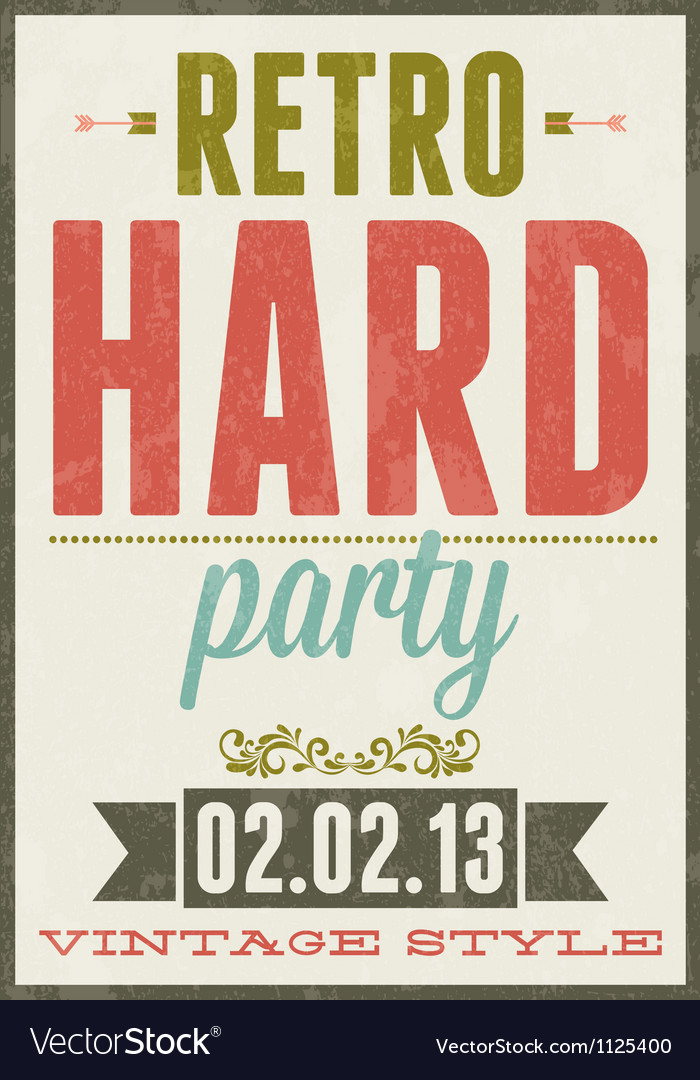 Retro party vintage typography poster vector | Price: 1 Credit (USD $1)