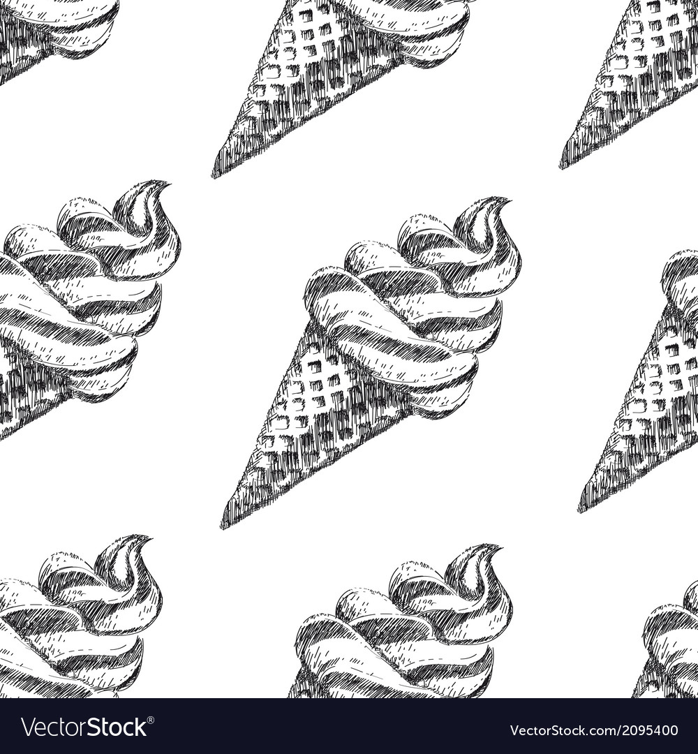 Seamless pattern with ice cream hand drawn vector | Price: 1 Credit (USD $1)
