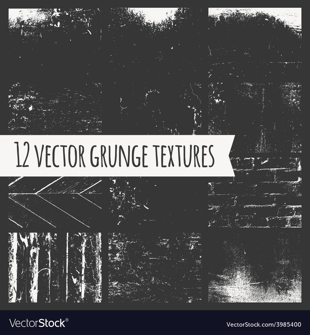 Set of different grunge textures vector | Price: 1 Credit (USD $1)