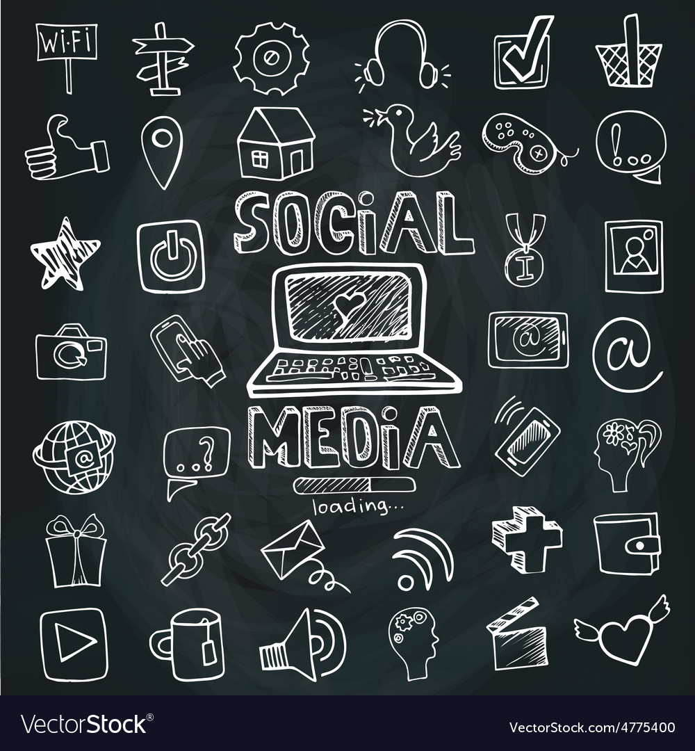 Social media word and icon setdoodle sketchy vector | Price: 1 Credit (USD $1)