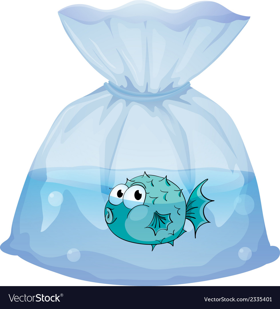 A blue fish inside the plastic vector | Price: 1 Credit (USD $1)