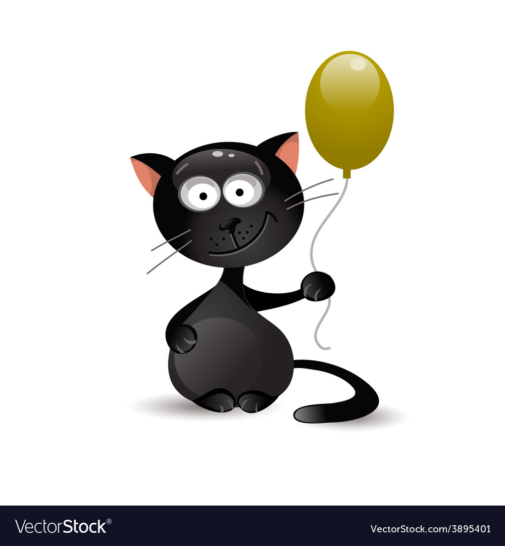 Black cat with balloon vector | Price: 1 Credit (USD $1)