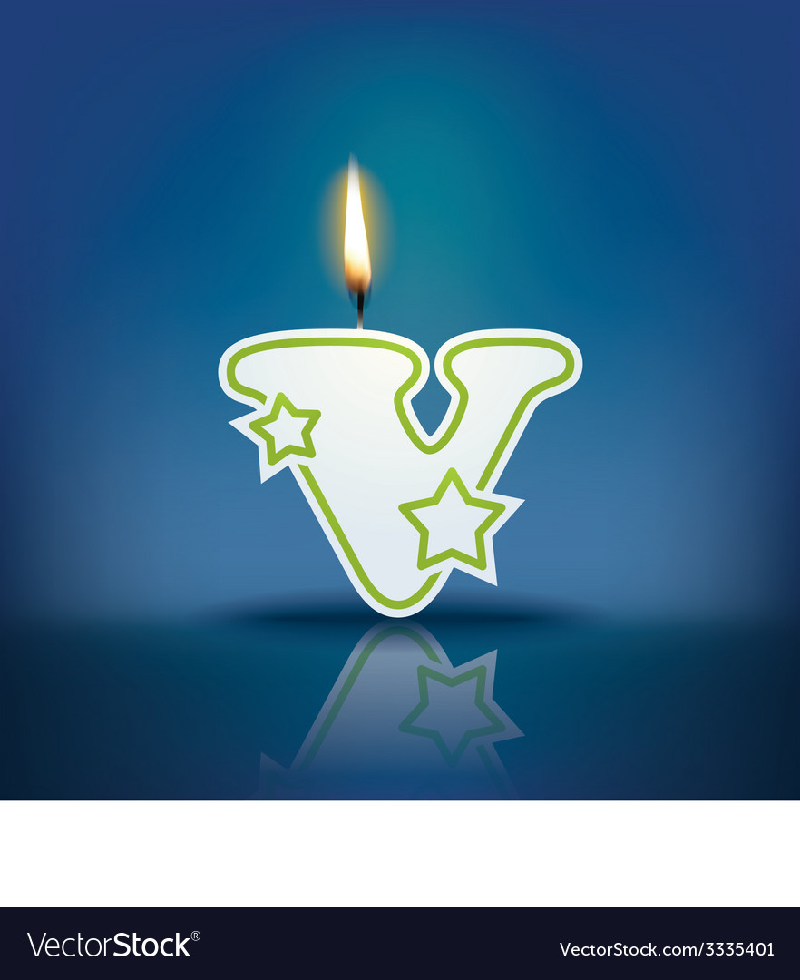 Candle letter v with flame vector | Price: 1 Credit (USD $1)