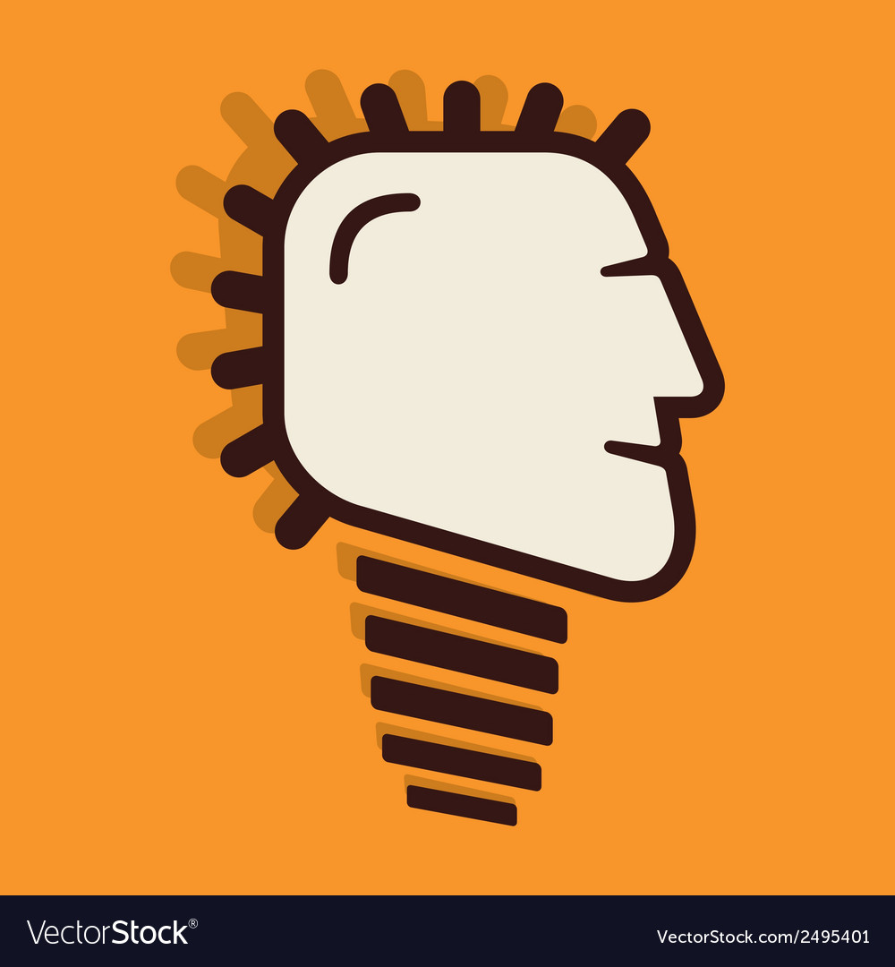 Creative bulb face design vector | Price: 1 Credit (USD $1)