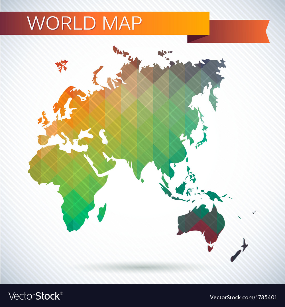Eastern hemisphere globe bright map vector | Price: 1 Credit (USD $1)