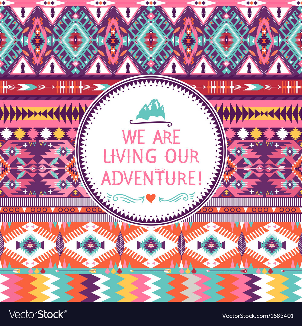 Hipster seamless colorful tribal pattern vector | Price: 1 Credit (USD $1)