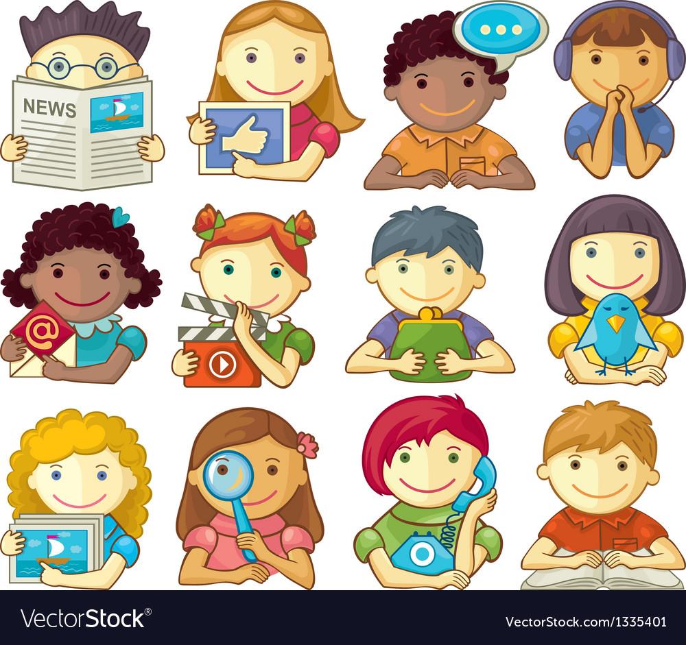 Set of cute characters for web menu vector