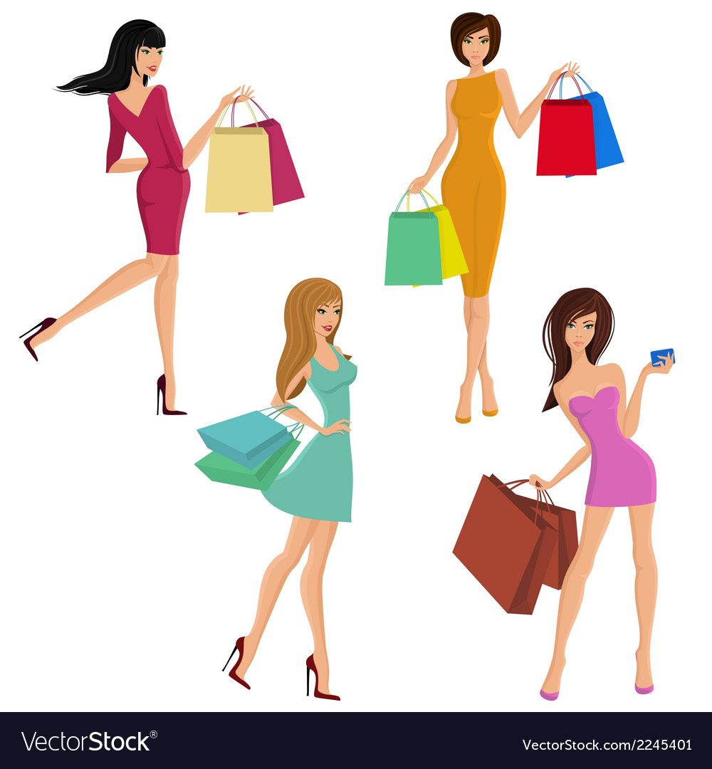 Shopping girl figures vector | Price: 1 Credit (USD $1)