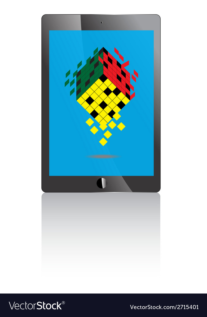Tablet pc with blue screen and rubik icon vector | Price: 1 Credit (USD $1)