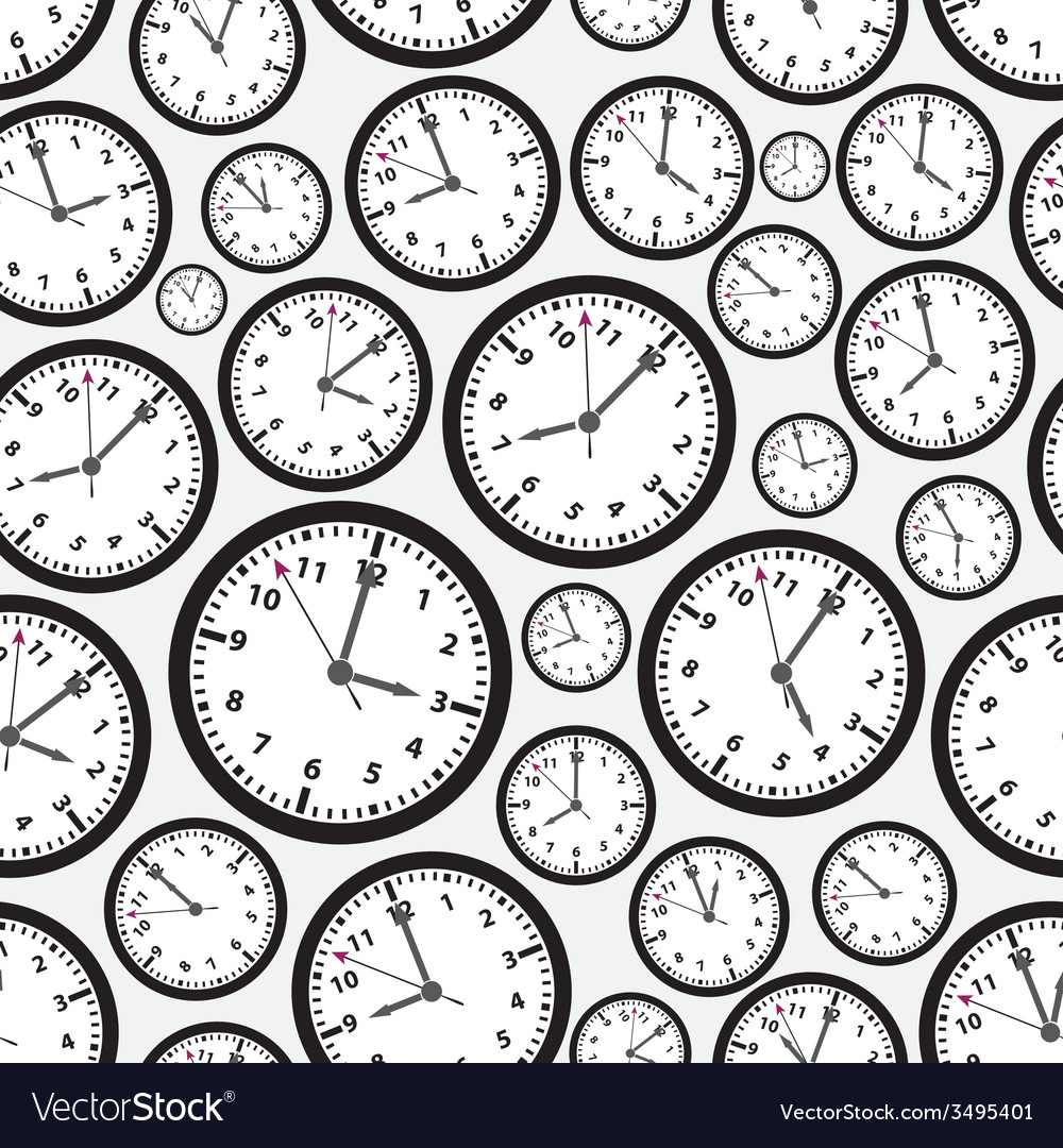 Time zones black and white clock seamless pattern vector