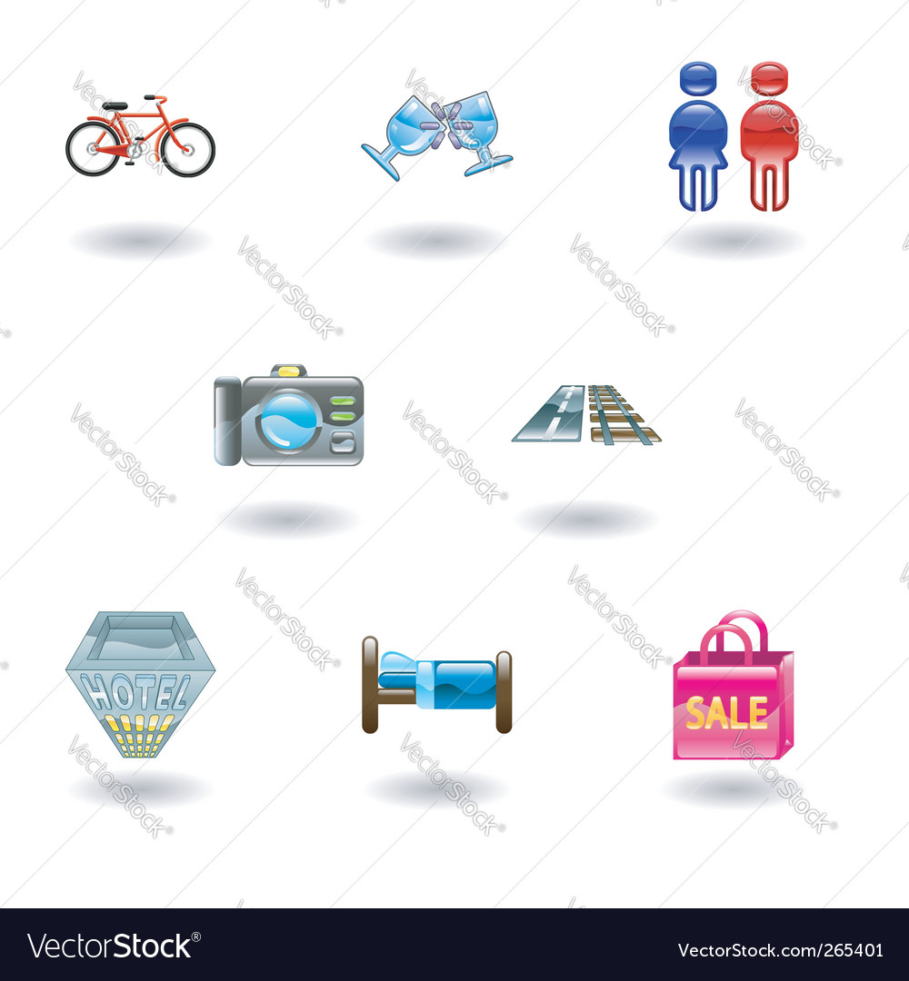 Travel and tourism icons vector | Price: 3 Credit (USD $3)
