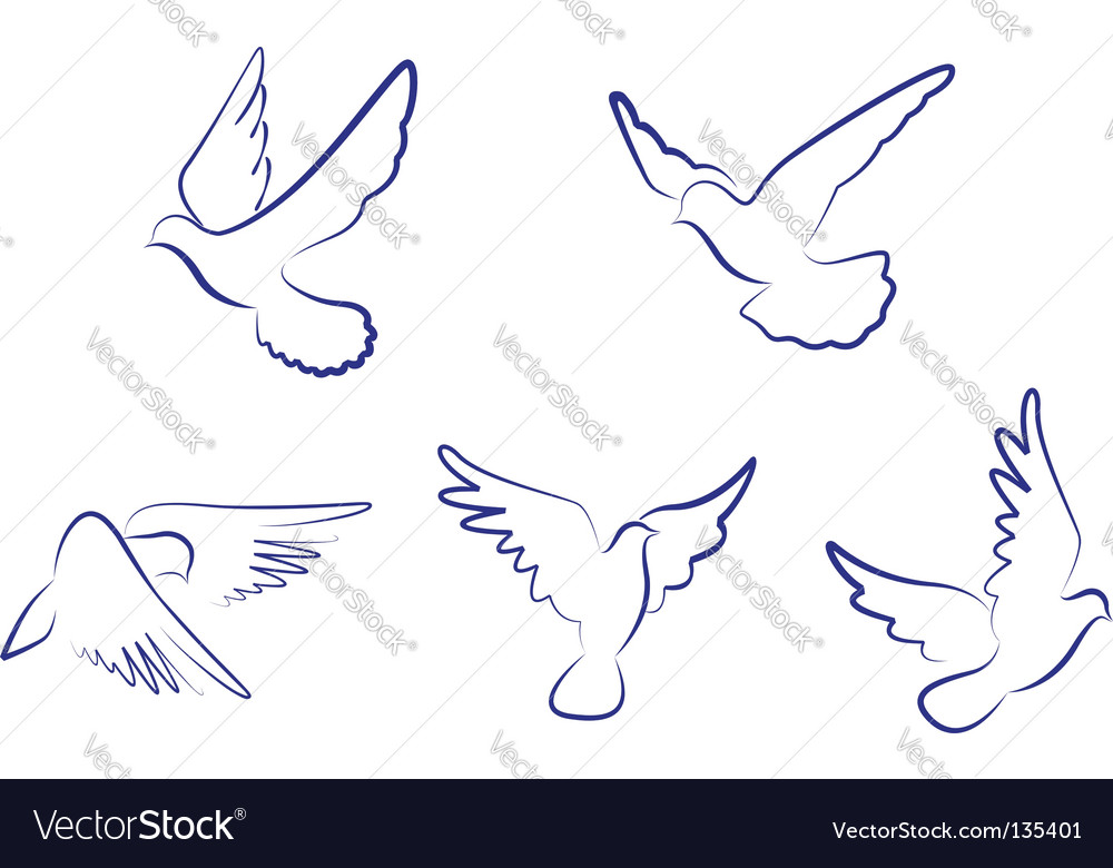 White doves vector | Price: 1 Credit (USD $1)