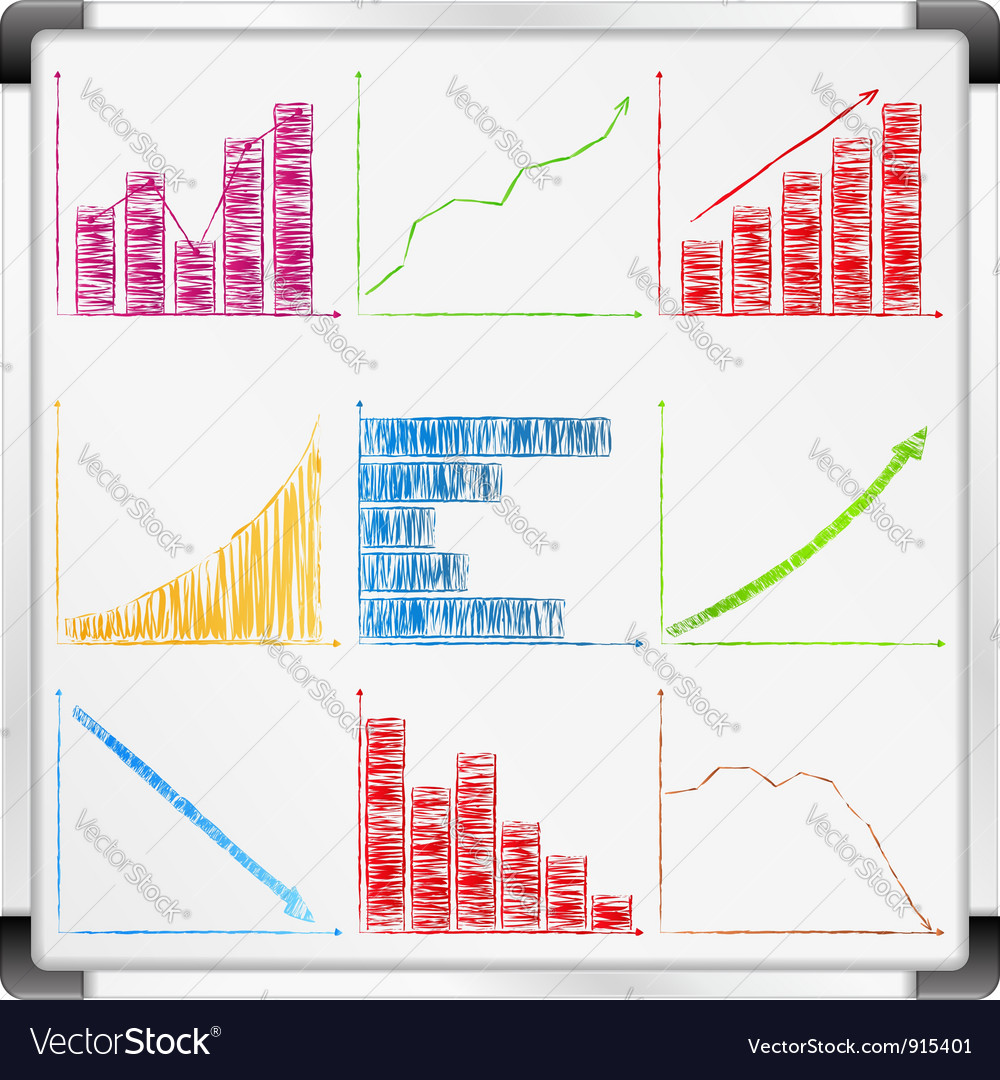 Whiteboard with graphs vector | Price: 1 Credit (USD $1)