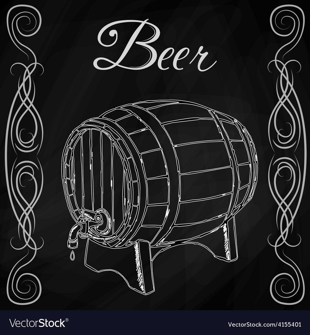 Wooden barrel in style sketch vector | Price: 1 Credit (USD $1)