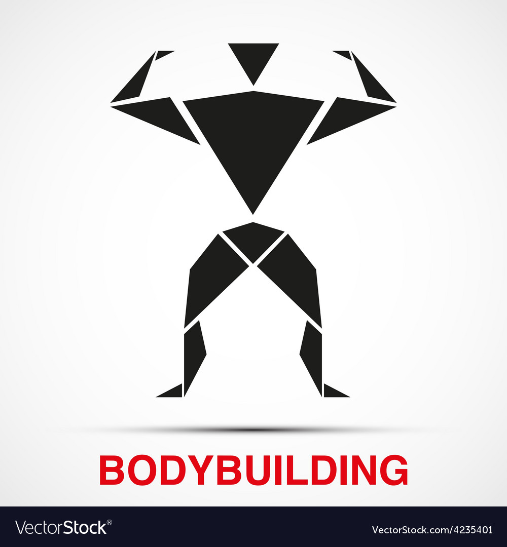 Workout logo with bodybuilder triangle man vector | Price: 1 Credit (USD $1)