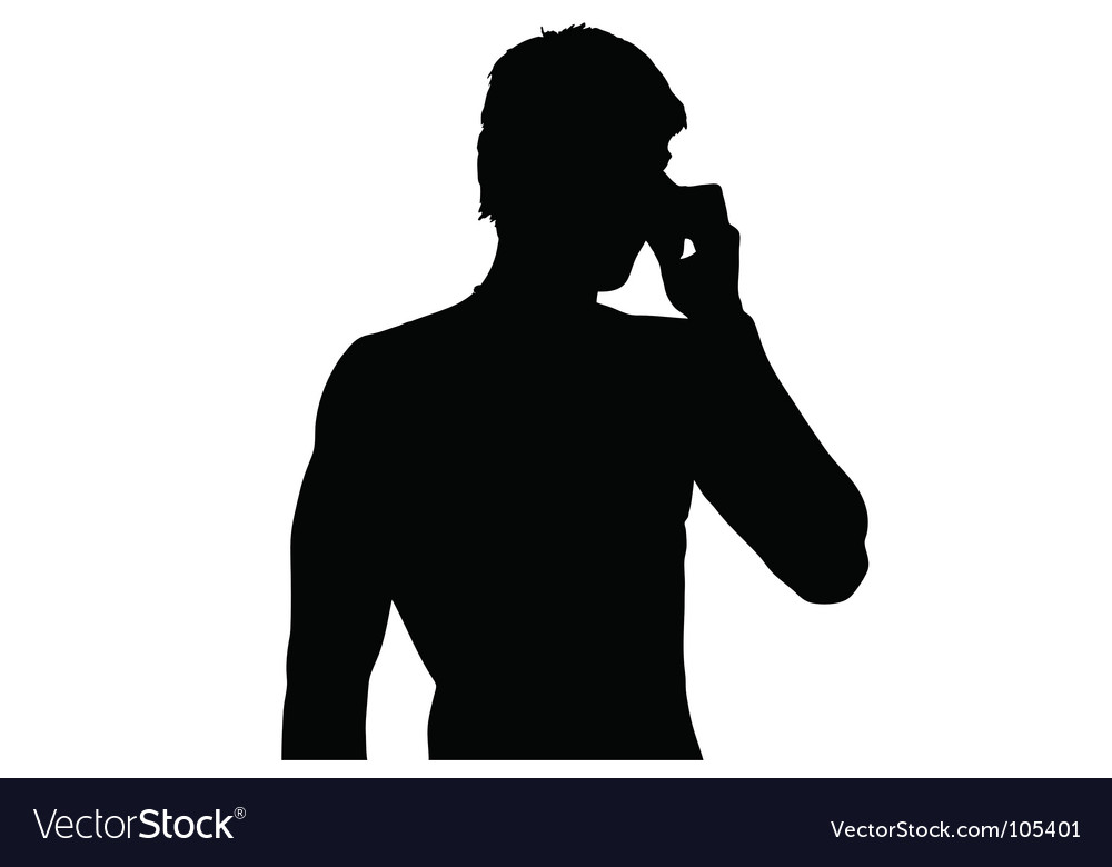 Young man on mobile phone vector   Price: 1 Credit (USD $1)