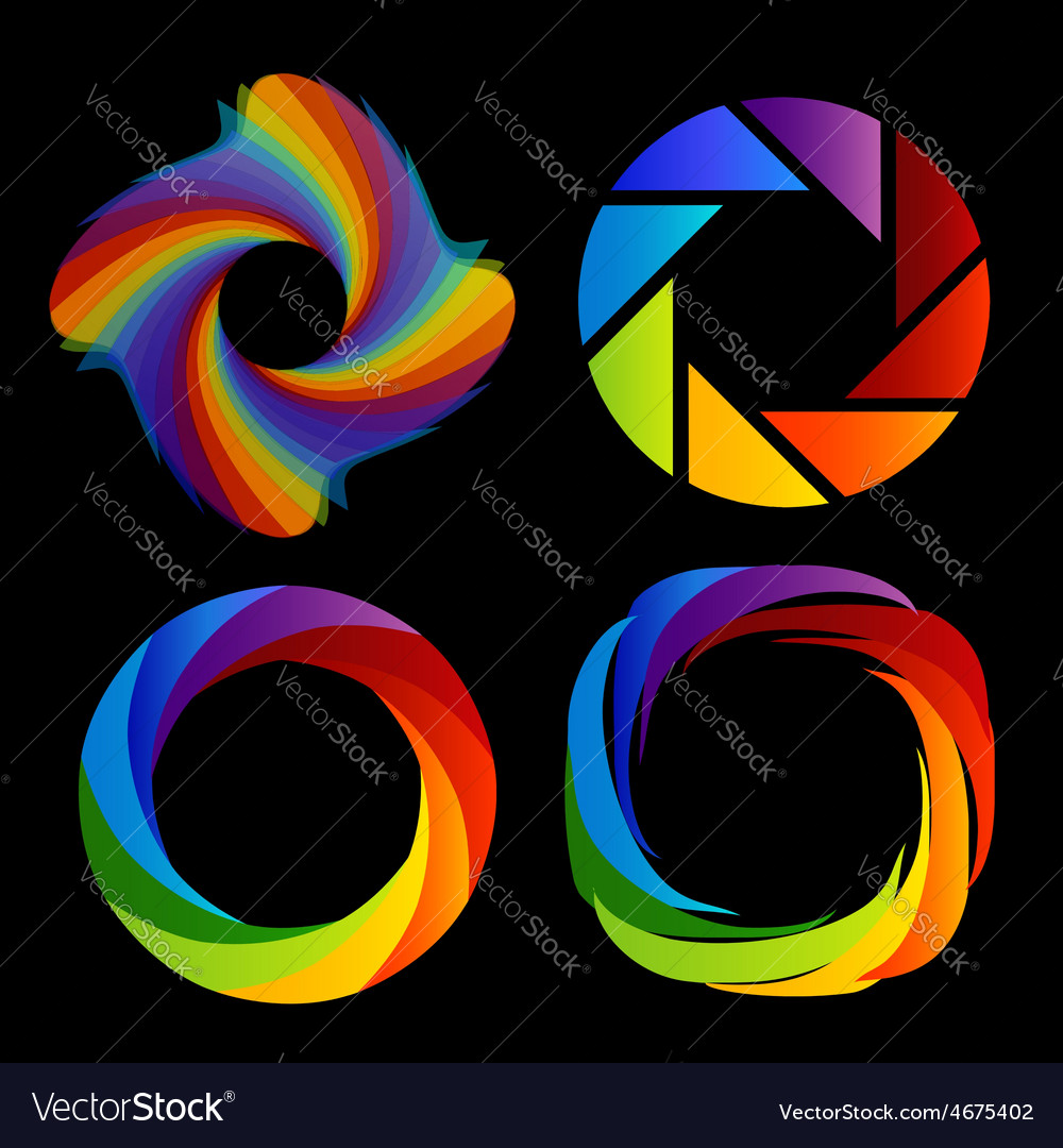 A set of rainbow colored photography shutter logos vector | Price: 1 Credit (USD $1)