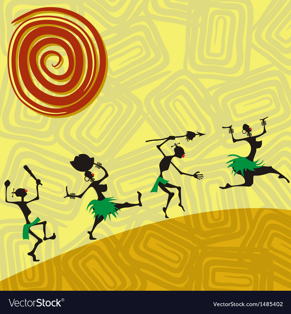 African traditional picture with silhouettes of vector | Price: 1 Credit (USD $1)