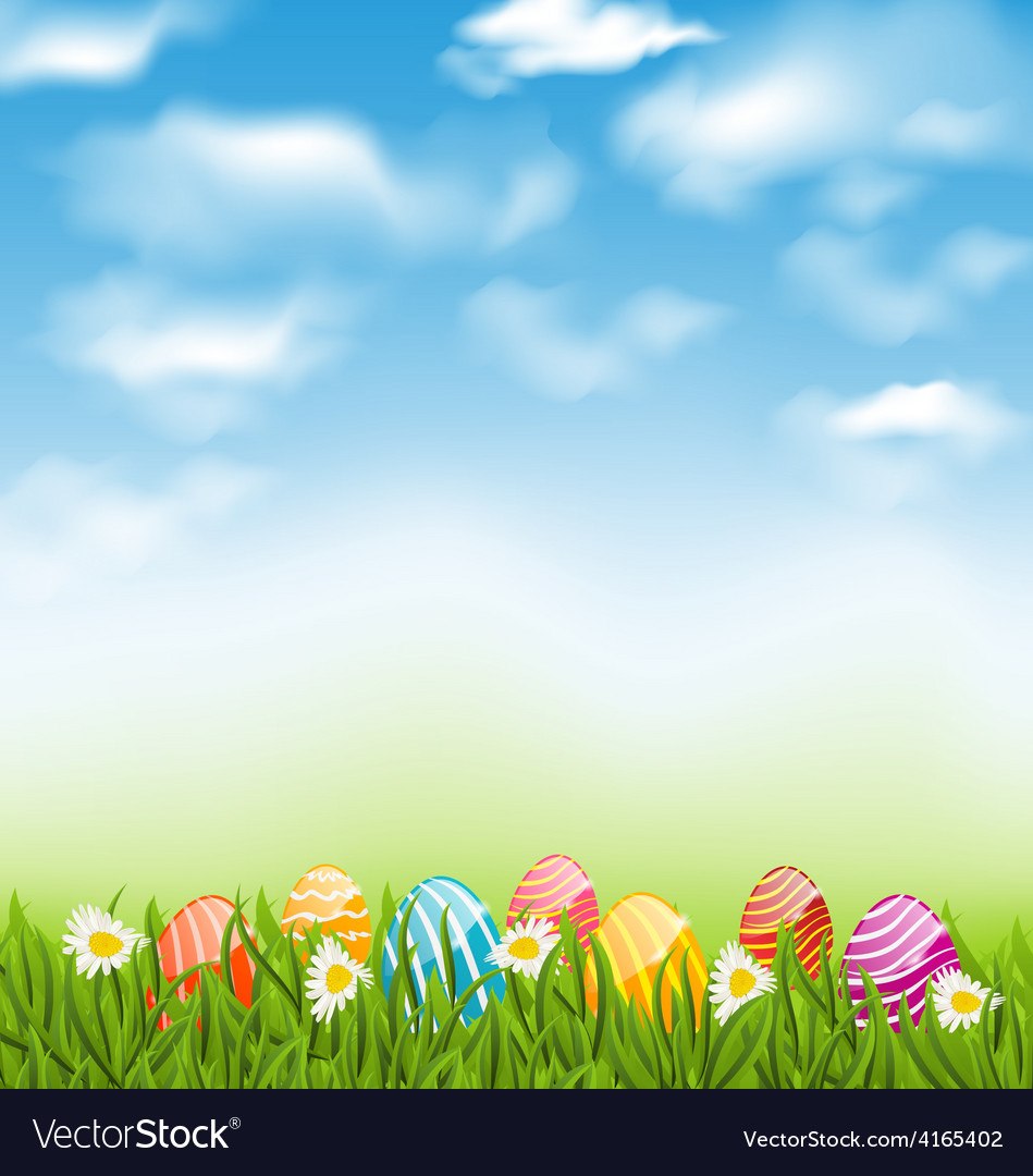 Easter natural landscape with traditional painted vector | Price: 1 Credit (USD $1)
