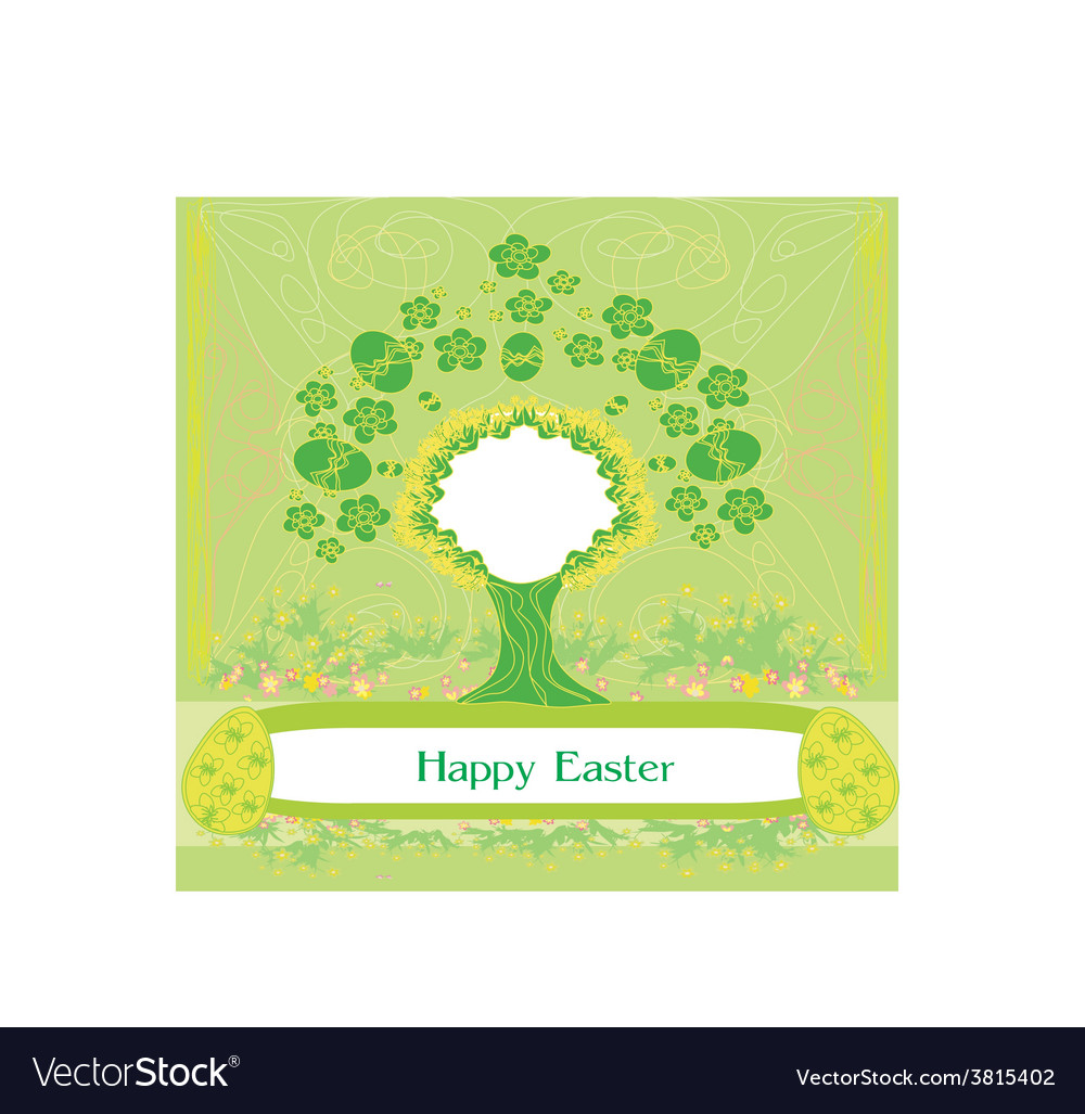 Easter tree frame vector | Price: 1 Credit (USD $1)
