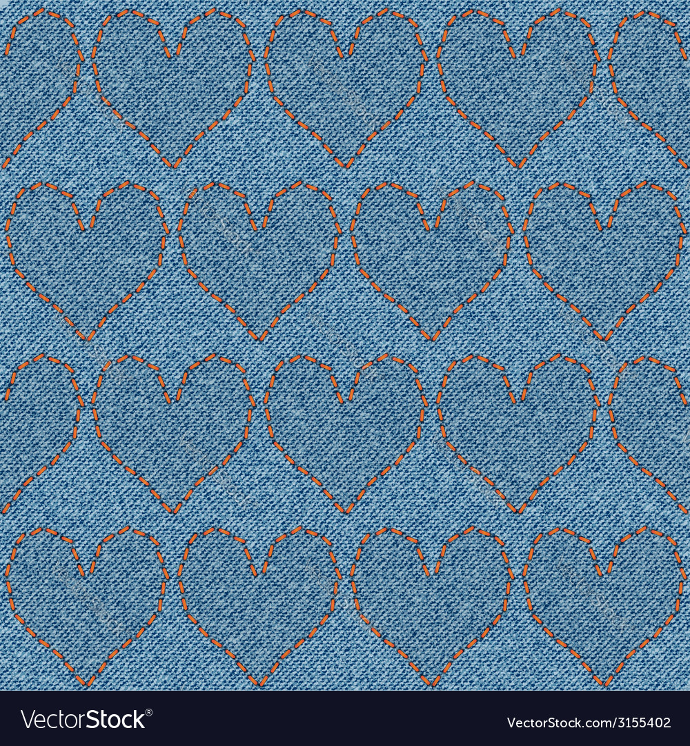 Embroidered hearts on denim seamless pattern vector | Price: 1 Credit (USD $1)