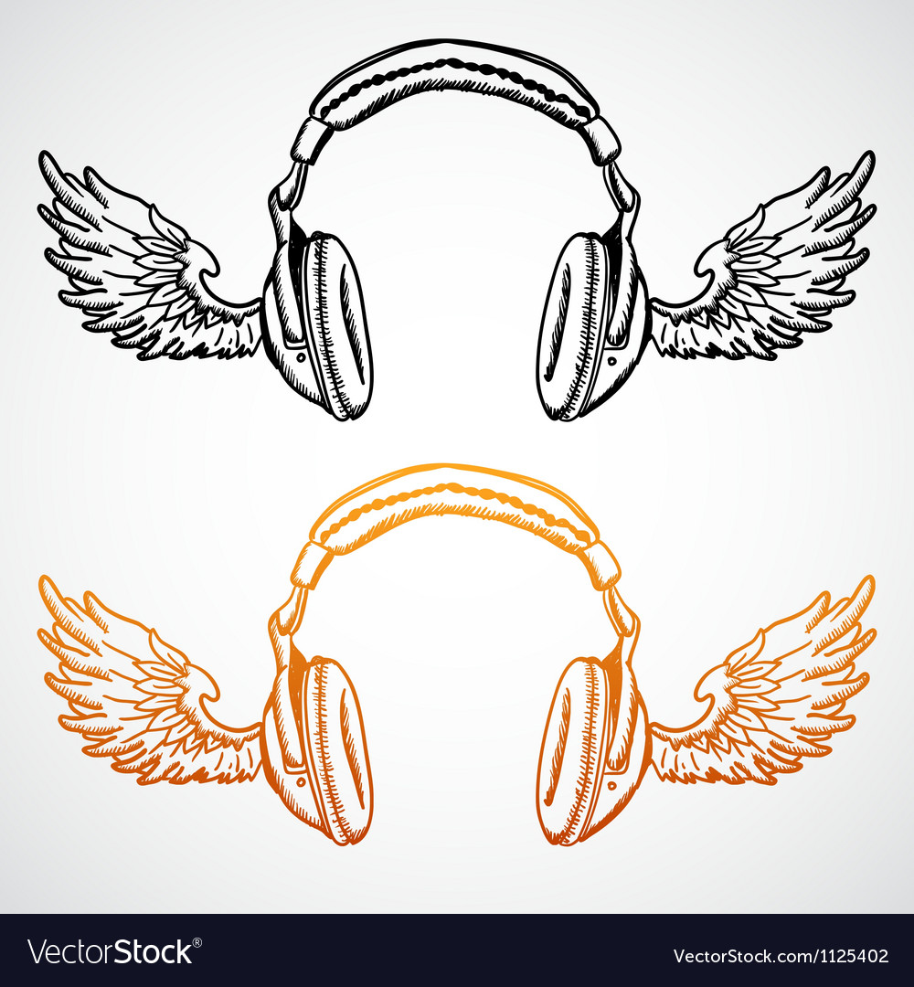 Hand drawn concept  headphones with wings vector | Price: 1 Credit (USD $1)