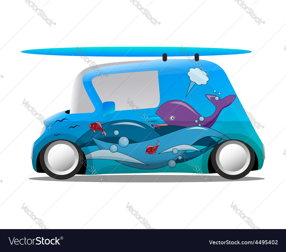 Ocean aerography mini cartoon car with a surfboard vector | Price: 1 Credit (USD $1)