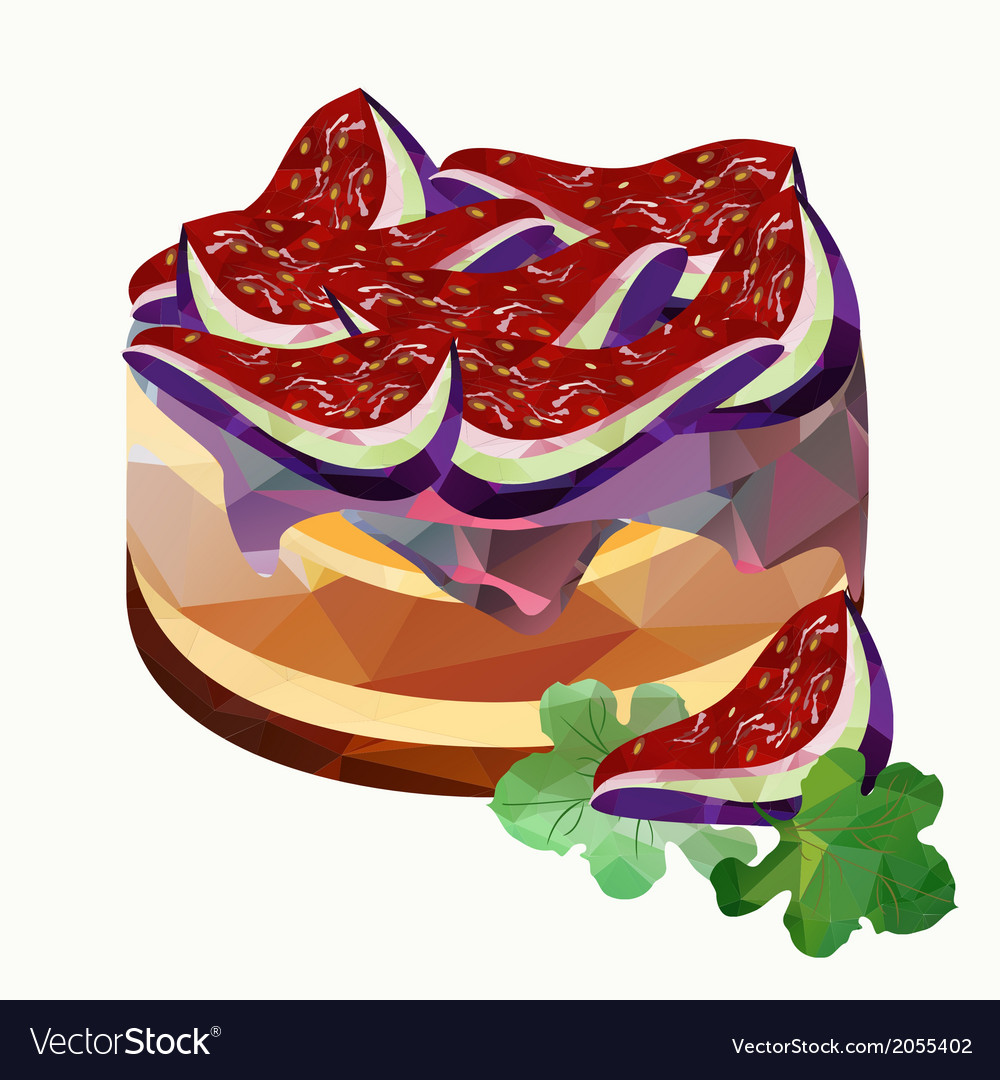 Polygonal cake with figs vector | Price: 1 Credit (USD $1)