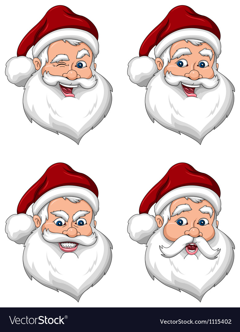 Santa claus various expressions face side view vector | Price: 3 Credit (USD $3)