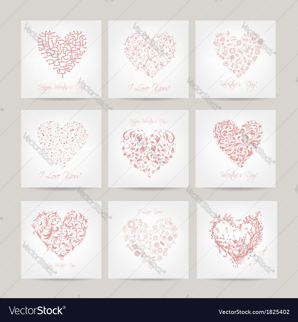 Set of valentine cards with hearts for your design vector | Price: 1 Credit (USD $1)