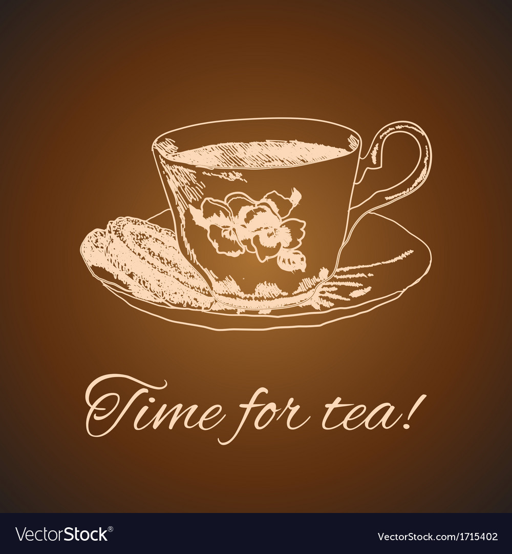 Tea mug and cake vintage style vector | Price: 1 Credit (USD $1)