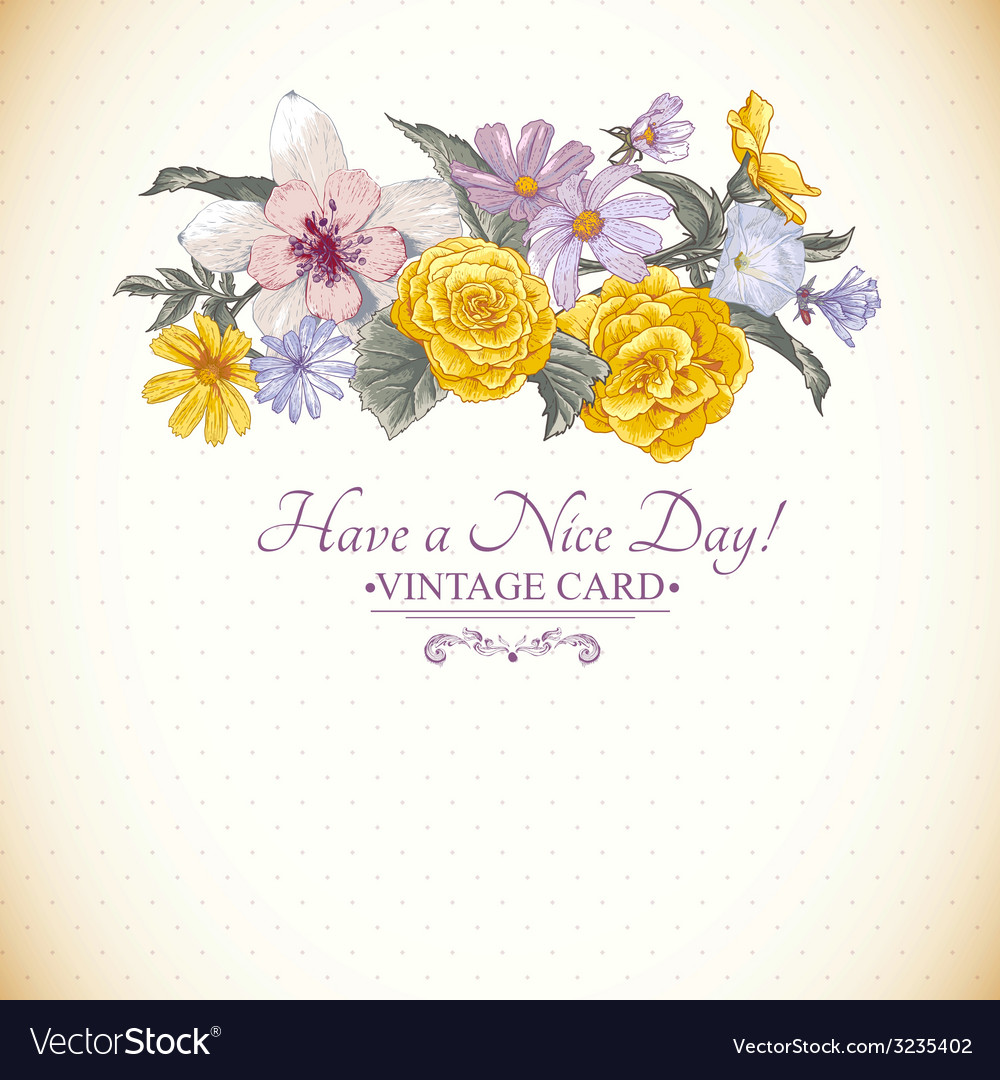 Vintage floral bouquet botanical greeting card vector   Price: 1 Credit (USD $1)