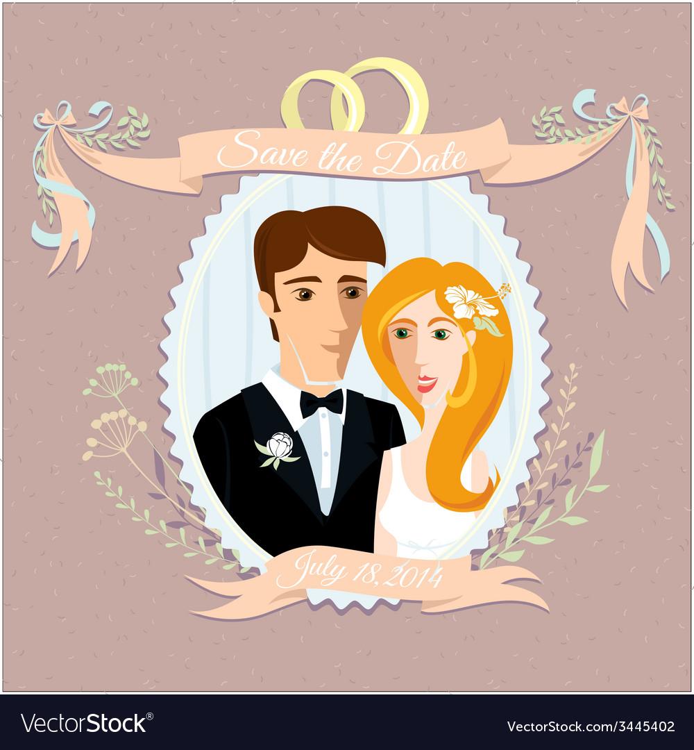 Vintage wedding invitation with happy couple vector | Price: 1 Credit (USD $1)