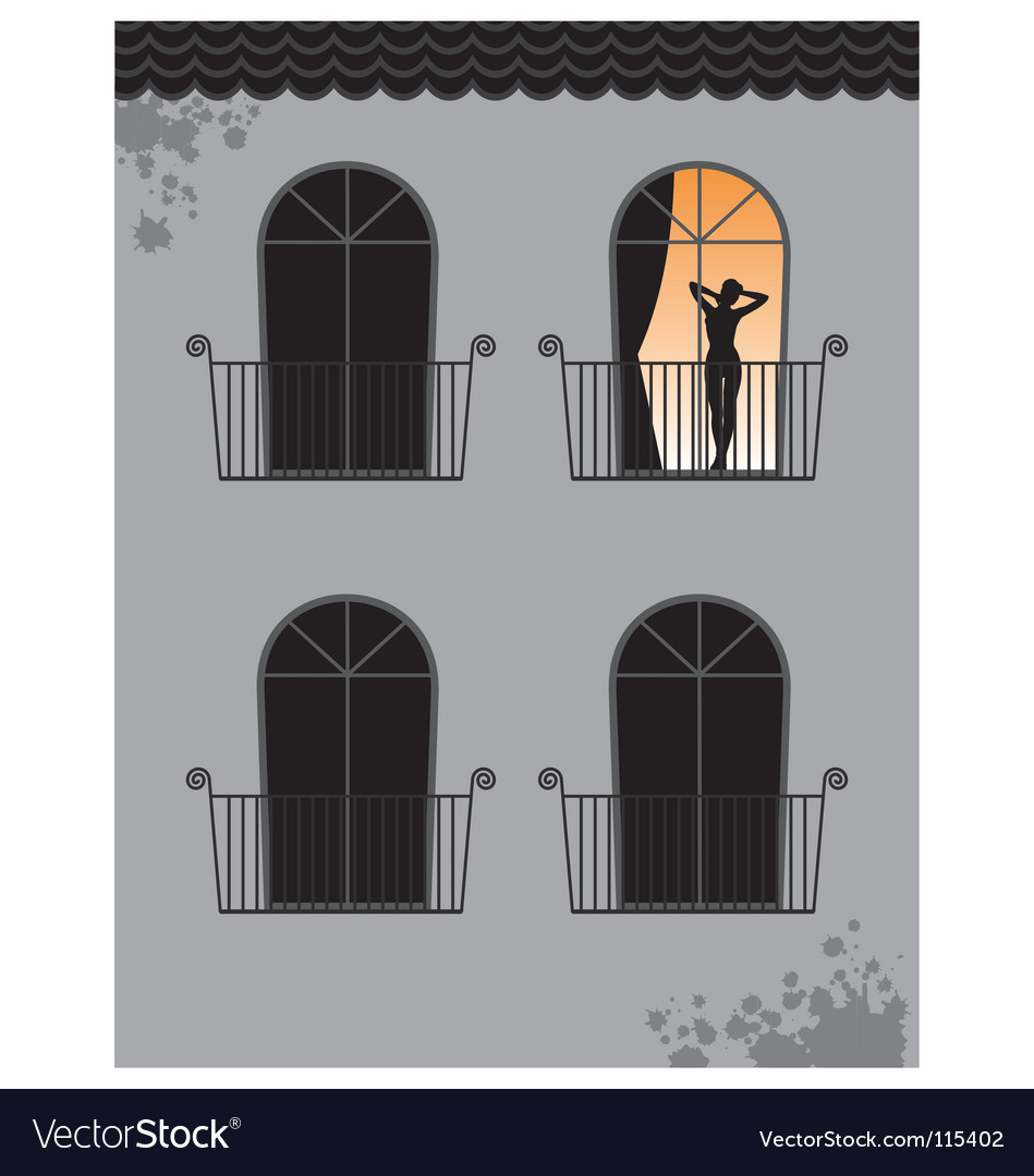 Woman at window vector | Price: 1 Credit (USD $1)