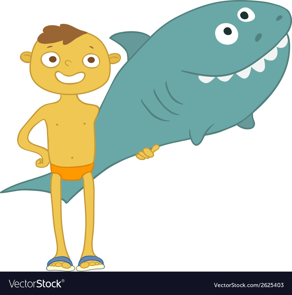 Boy with inflatable shark vector | Price: 1 Credit (USD $1)