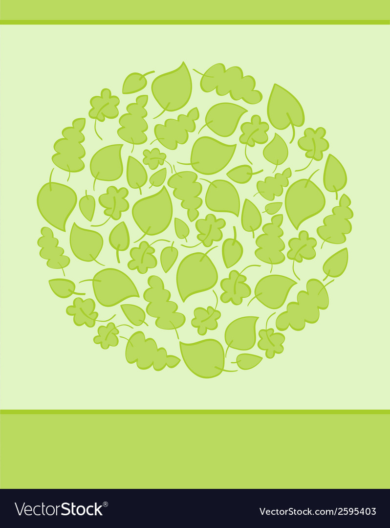 Bright green card made of circle with green leaves vector | Price: 1 Credit (USD $1)