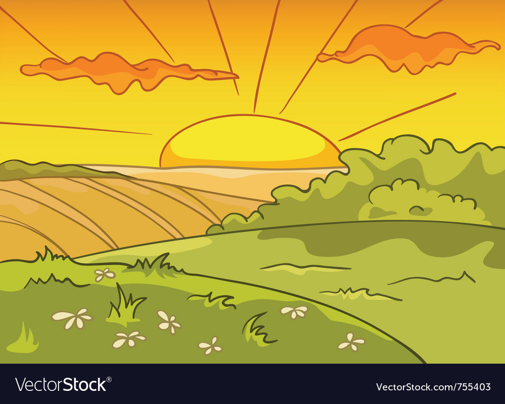 Cartoon nature landscape vector | Price: 1 Credit (USD $1)