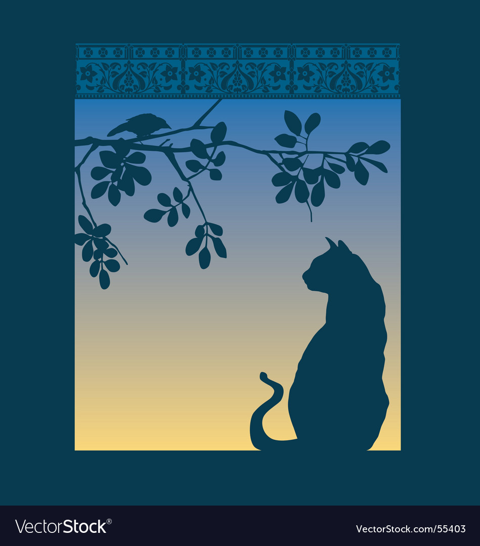 Cat window vector | Price: 1 Credit (USD $1)