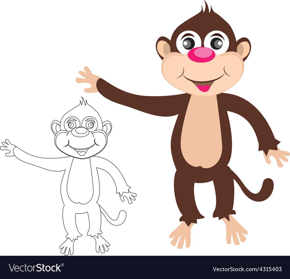 Cheerful monkey cartoon vector | Price: 1 Credit (USD $1)