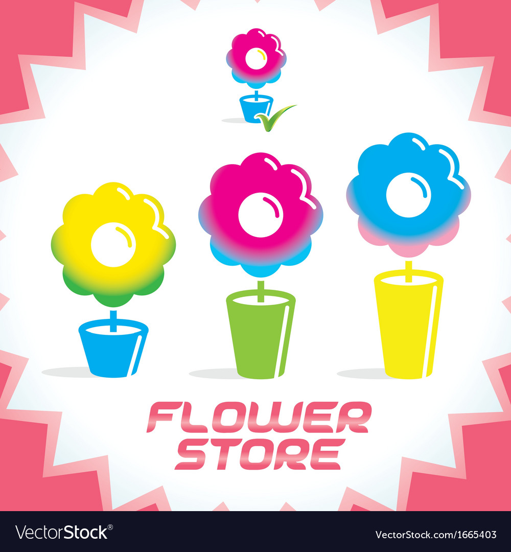 Gradient flower shop icons vector | Price: 1 Credit (USD $1)