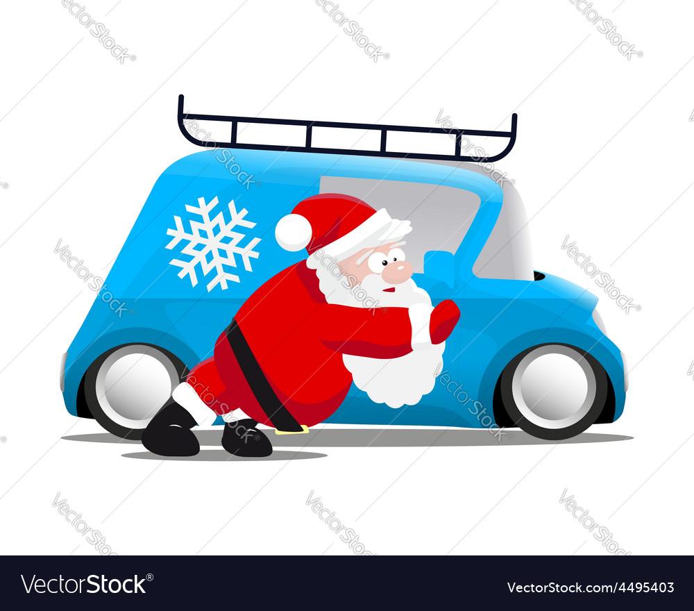 Santa pushing a blue mini car vector | Price: 1 Credit (USD $1)
